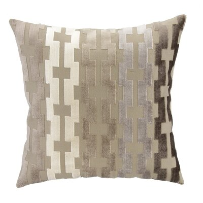 Tan, Vanilla & Java Geometric Cut Velvet Square Pillow