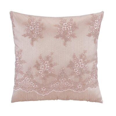 Old Rose Flounce Embroidery Overlay Square Pillow