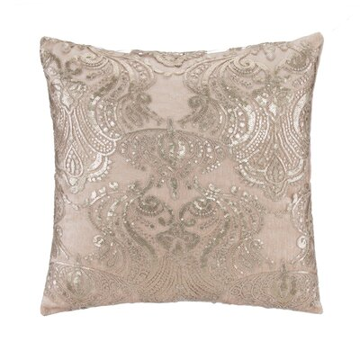 Beaded Emb on Tulle with Sequins Over Velvet Throw Pillow