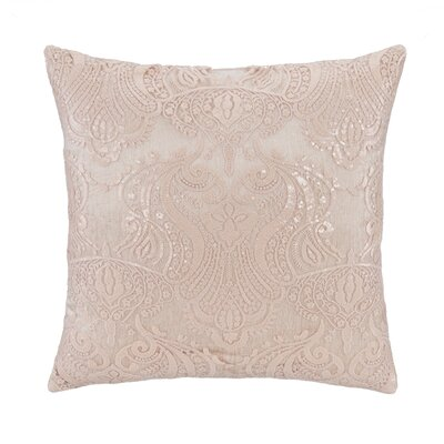 Beaded Emb on Tulle with Sequins Over Velvet (Antq Pink) Square Pillow Cover