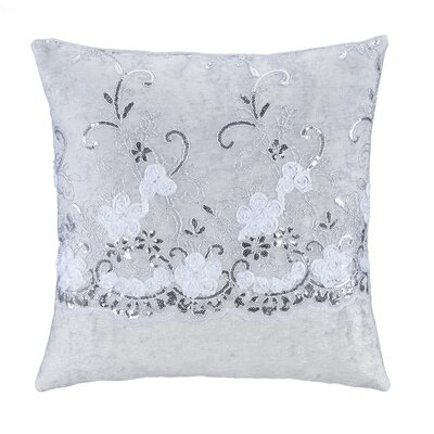 Ribbon Flowers with Sequins on Tulle Over Velvet Square Pillow