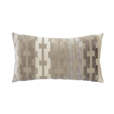 Tan, Vanilla & Java Geometric Cut Velvet Lumbar Pillow