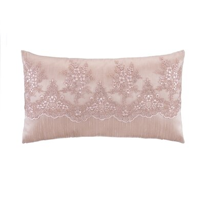 Old Rose Flounce Embroidery Overlay Lumbar Pillow