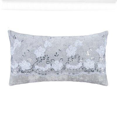 Ribbon Flowers with Sequins on Tulle Over Velvet Lumbar Pillow