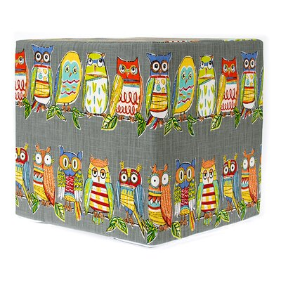 Decorative Ottoman Upholstery: Gray Hoot