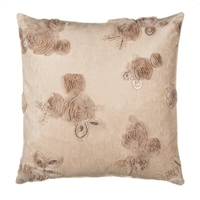 Roses with Beaded Accent Leaf Over Velvet Throw Pillow