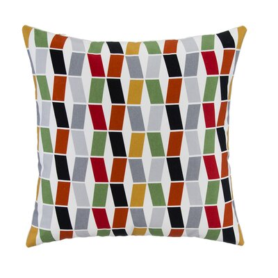 Geometric Block with Bone Velvet Back Throw Pillow