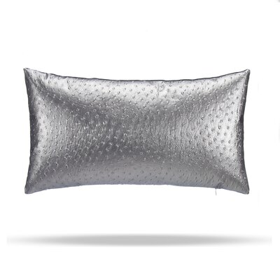 Oscar Faux Osterich Cotton Lumbar Pillow Color: Silver