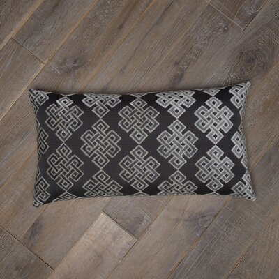 Infinity Square Cotton Lumbar Pillow Color: Gray / Black