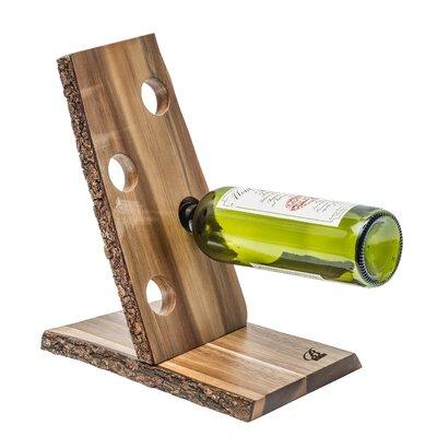 Organic Acacia 4 Bottle Tabletop Wine Rack