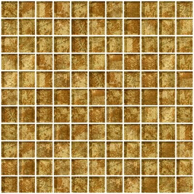 1 x 1 Glass Mosaic Tile in Patina Bronze