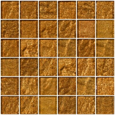 2 x 2 Glass Mosaic Tile in Cinnamon Shimmer Brown