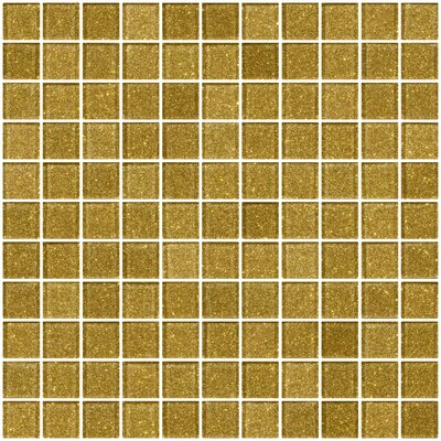1 x 1 Glass Mosaic Tile in Light Gold