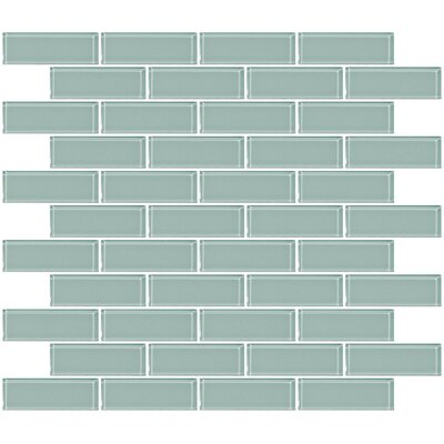 1 x 3 Glass Subway Tile in Pale Aqua Blue