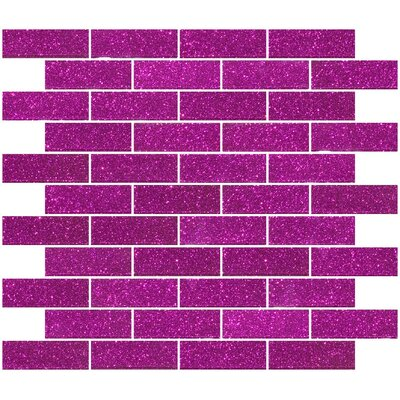 1 x 3 Glass Subway Tile in Fuchsia Pink