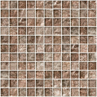 1 x 1 Glass Mosaic Tile in Silver Taupe