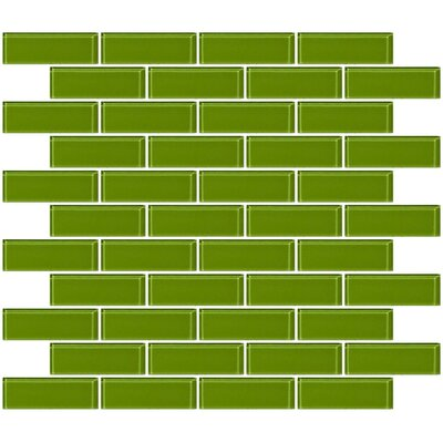 1 x 3 Glass Subway Tile in Dark Lime Green