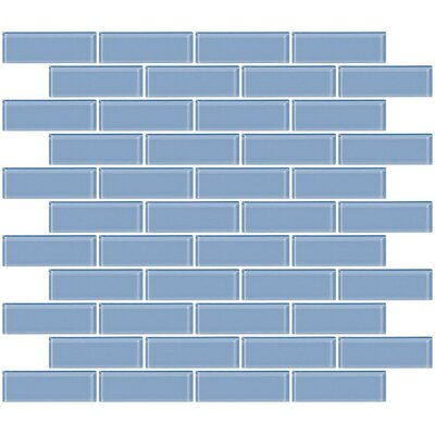 1 x 3 Glass Subway Tile in Pale Sky Blue