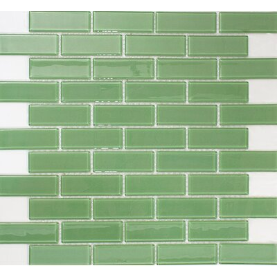 1 x 3 Glass Subway Tile in Pale Green