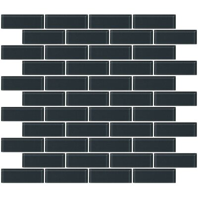 1 x 3 Glass Subway Tile in Glossy Dark Gray