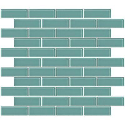 1 x 3 Glass Subway Tile in Light Aqua Blue