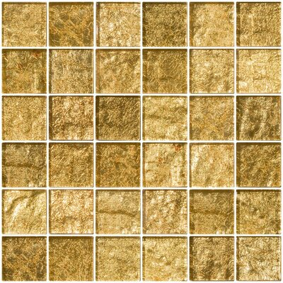 2 x 2 Glass Mosaic Tile in Champagne