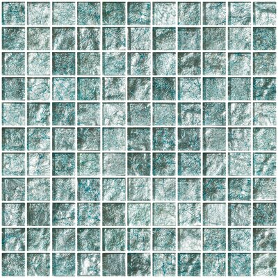 1 x 1 Glass Mosaic Tile in Iced Aqua Steel Blue