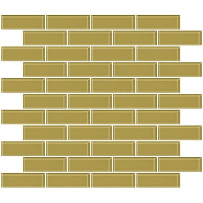 1 x 3 Glass Subway Tile in Glossy Light Olive Green