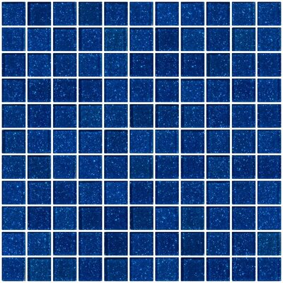 1 x 1 Glass Mosaic Tile in Glossy Cobalt blue
