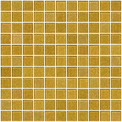 1 x 1 Glass Mosaic Tile in Soft Gold