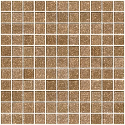 1 x 1 Glass Mosaic Tile in Taupe Gold
