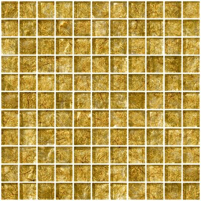 1 x 1 Glass Mosaic Tile in Golden Opal