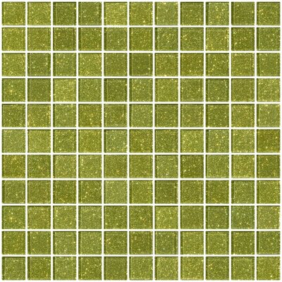 1 x 1 Glass Mosaic Tile in Light Lime Green