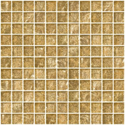 1 x 1 Glass Mosaic Tile in Champagne
