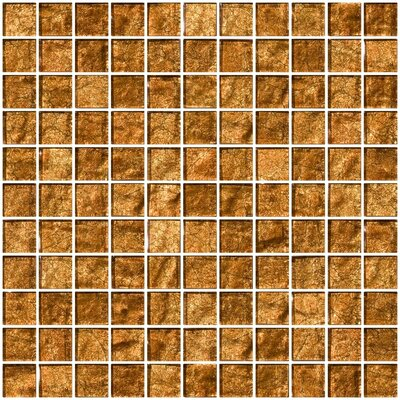 1 x 1 Glass Mosaic Tile in Cinnamon Shimmer Brown