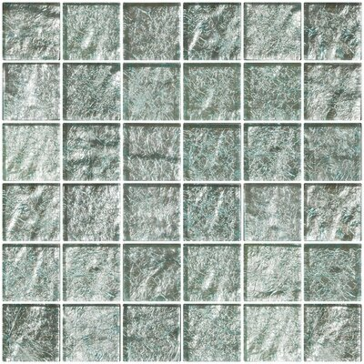 2 x 2 Glass Mosaic Tile in Iced Aqua Steel Blue