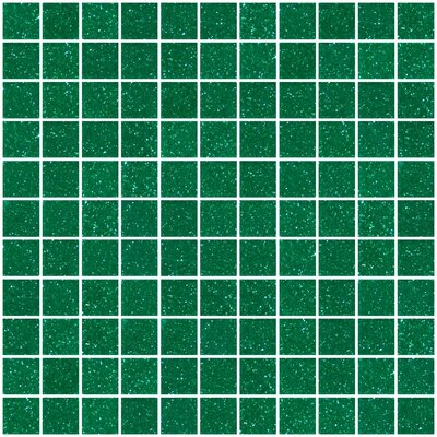 1 x 1 Glass Mosaic Tile in Glossy Emerald green