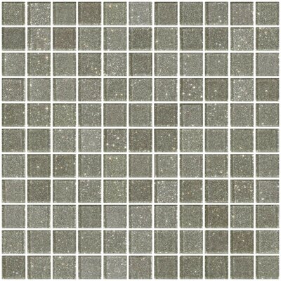 1 x 1 Glass Mosaic Tile in Silver