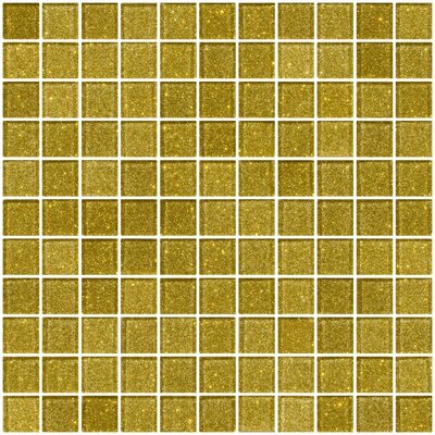 1 x 1 Glass Mosaic Tile in Dark Gold
