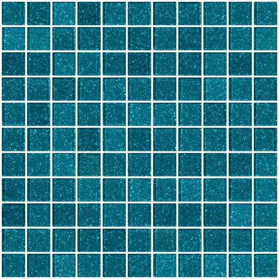 1 x 1 Glass Mosaic Tile in Glossy Turquoise blue
