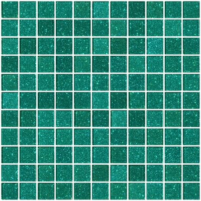 1 x 1 Glass Mosaic Tile in Aqua Green