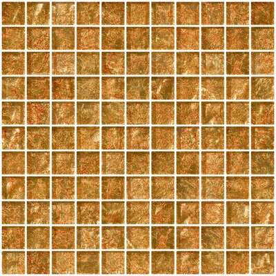 1 x 1 Glass Mosaic Tile in Fire Bronze