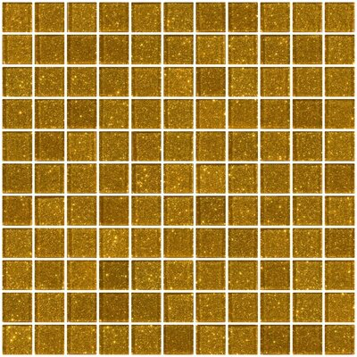1 x 1 Glass Mosaic Tile in Gold