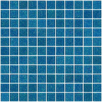 1 x 1 Glass Mosaic Tile in Denim Blue