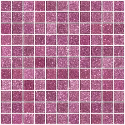 1 x 1 Glass Mosaic Tile in Barbie Pink