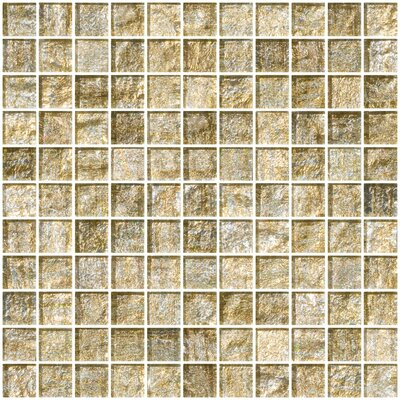 1 x 1 Glass Mosaic Tile in Gold and Silver