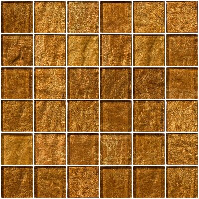 2 x 2 Glass Mosaic Tile in Golden Rust