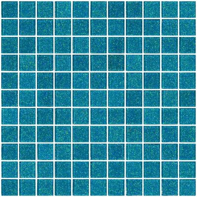 1 x 1 Glass Mosaic Tile in Cerulean Blue