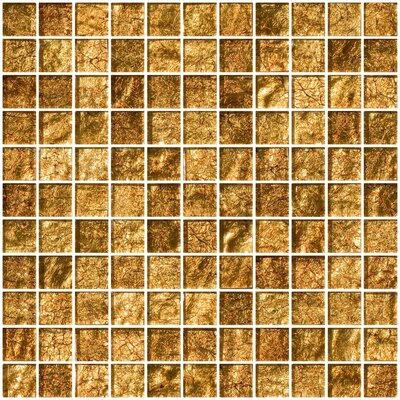 1 x 1 Glass Mosaic Tile in Golden Rust