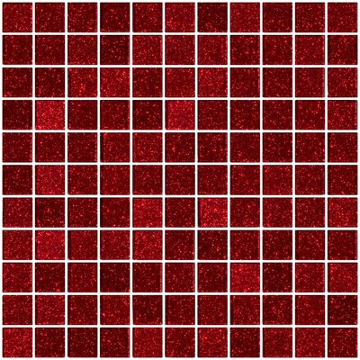 1 x 1 Glass Mosaic Tile in Glossy Red